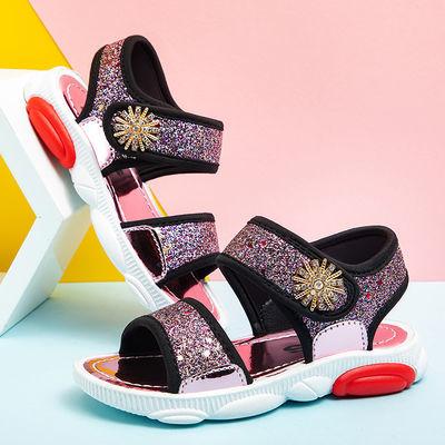 德豹女童凉鞋2020夏季新款沙滩鞋儿童凉鞋女小雏菊亮片可爱公主鞋