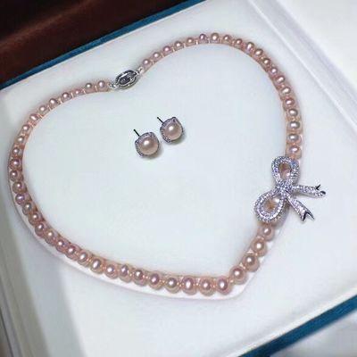 刘诗诗同款天然原色珍珠项链淡水珍珠近圆 强光 微瑕蝴蝶结