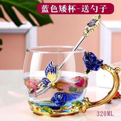 珐琅彩水杯玻璃杯子女家用早餐牛奶花茶杯创意潮流欧式咖啡杯带把