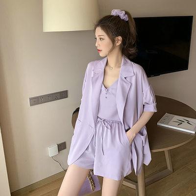 套装女夏季2020新款学生薄小西装外套阔腿短裤韩版闺蜜装三件套潮