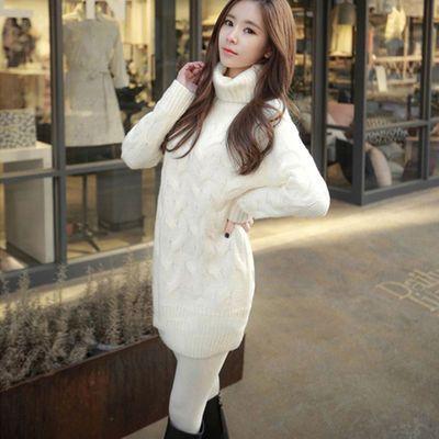 中长款复古麻花两翻领毛衣女套头冬季白色高领针织衫外套粗针线衣