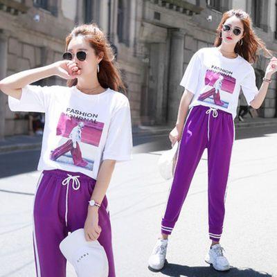 【含棉】网红同款紫色运动套装女学生2019夏装韩版宽松休闲两件套