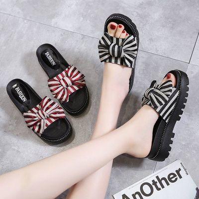 拖鞋女鞋新款凉拖夏天外穿时尚一字拖夏季外出学生厚底松糕蝴蝶结