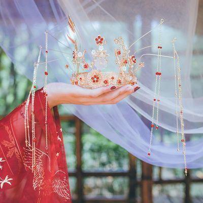 发冠古代女仙气古风流苏步摇发饰汉服头饰头冠凤冠新娘大气全套