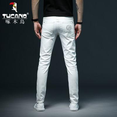 啄木鸟男士牛仔男白色裤子刺绣男夏季新款直筒弹力百搭修身潮流帅