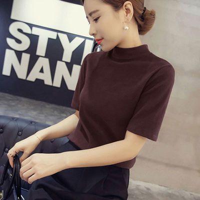 打底衫上衣毛衣女黑色针织衫黄色上衣衫女春季修身女女冰丝中袖