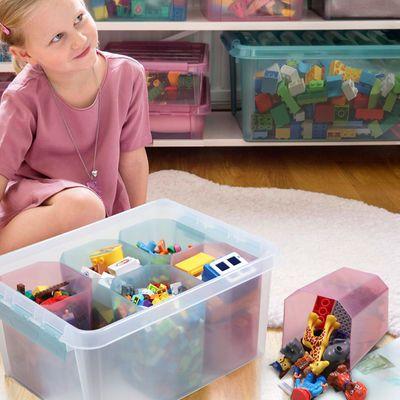 瑞典进口乐高积木收纳盒儿童玩具文具收纳杂物书籍透明分格收纳箱