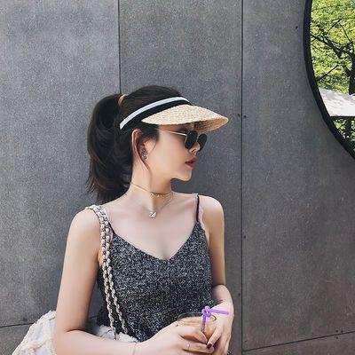 帽子女网红同款空顶帽草帽女沙滩度假防晒鸭舌帽遮阳帽韩版太阳帽