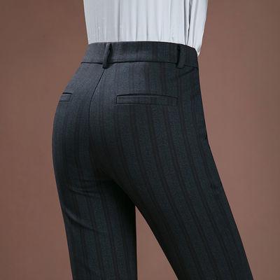 2020春夏新品休闲裤女士中年直筒裤妈妈裤条纹格纹高腰弹力中老年