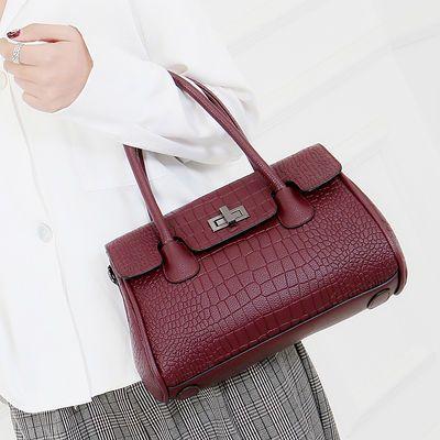 新款真皮手提包女通勤时尚百搭鳄鱼纹牛皮包包中年妈妈婆婆手拎包