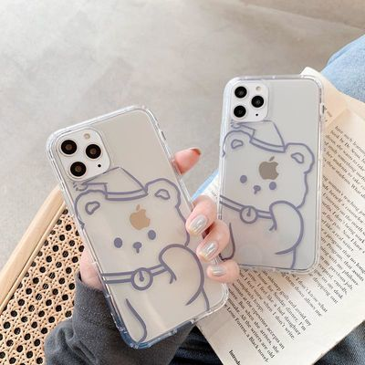 透明可爱卡通线条小熊iphone11pro手机壳苹果X/Xs/Max软壳SE/8plu