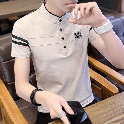 【95%棉 不起球 不掉色】男士短袖t恤纯棉polo衫夏季潮流立领衣服