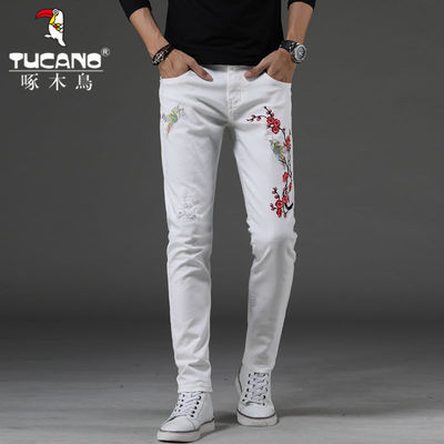 啄木鸟男士牛仔裤男长裤白色刺绣直筒夏季新款潮流弹力百搭帅气