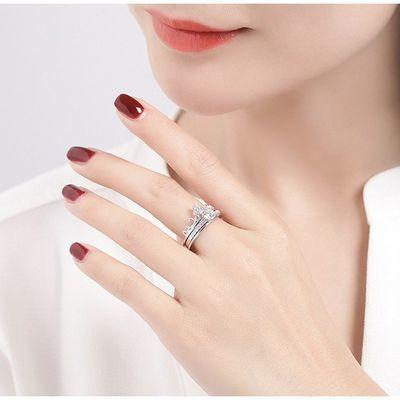 纯银S925双层二合一 皇冠戒指 时尚女戒可拆卸分离两件套组合