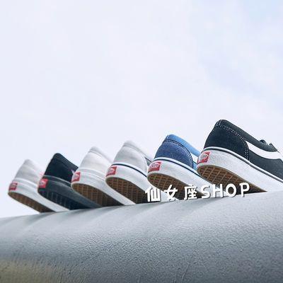 新品OFF WHITE联名蓝色经典男鞋女鞋高帮帆布鞋情侣板鞋港风万斯