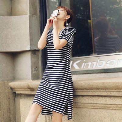 条纹连衣裙中长款2020夏季新款修身显瘦短袖V领文艺清新纯棉A字裙