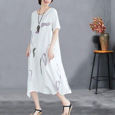 【新设计】夏季韩版宽松大码不规则棉麻连衣裙短袖中长款大摆裙女