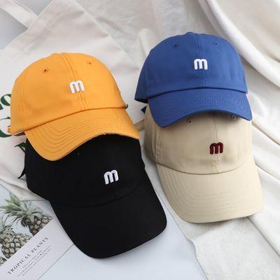 韩版ins百搭棉布小M字母棒球帽子女夏季时尚软顶鸭舌帽学生遮阳帽