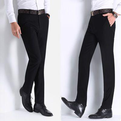 西装裤男直筒学生修身小西裤男裤子春秋季商务休闲长裤纯黑色免烫