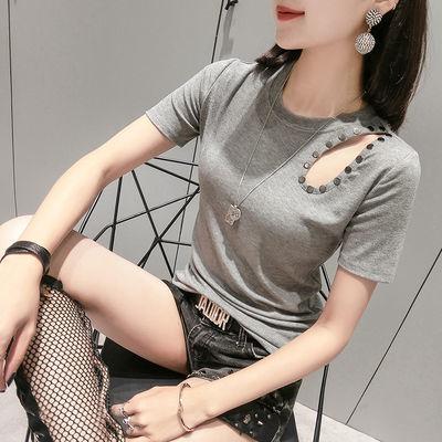 90棉夏天新款时尚破洞短袖T恤女装修身显瘦半袖紧身露锁骨上衣潮