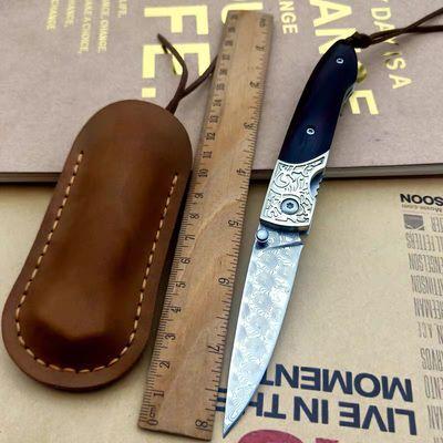 进口大马士革钢刀折叠刀高硬度小刀收藏刀具户外防身折刀军刀直刀