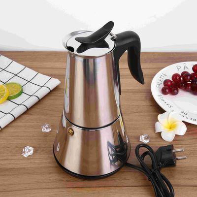 新爆款跨境家用电动摩卡壶不锈钢304黑咖啡壶意式咖啡机预防干烧