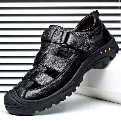 夏季真皮透气凉皮鞋男士软底软面皮镂空洞洞鞋中年爸爸休闲男凉鞋