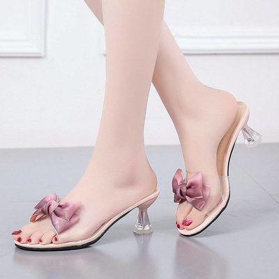 外穿网红凉拖鞋女蝴蝶结中跟夏2020新款一字露趾细跟性感半拖鞋女