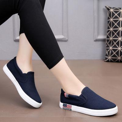 一脚蹬帆布鞋女平底懒人鞋韩版黑色女鞋百搭休闲单鞋透气学生板鞋