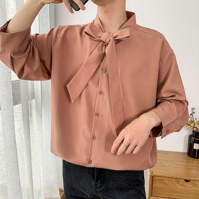 新款心机衬衫七分袖设计感男痞帅韩风ins潮男网红帅气学生很仙的