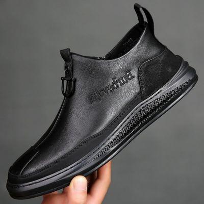 【加绒/不加绒】靴子男士高帮鞋子男冬季棉鞋休闲皮鞋内增高短靴