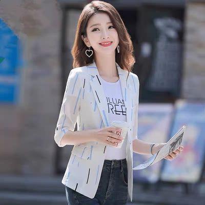 2020春夏韩版短款复古西服外套条纹印花薄款一粒扣七分袖小西装女