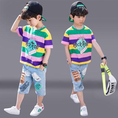 童装男童套装2020新款夏装男孩洋气短袖韩版儿童帅气条纹两件套潮