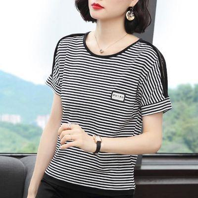 实拍条纹t恤女短袖宽松显瘦2020年夏季新款黑白大码中年妈妈体恤