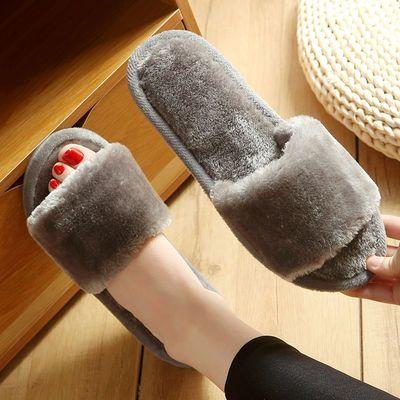 毛毛拖鞋女夏季春秋四季家居家用室内地板软底防滑一字毛绒拖鞋