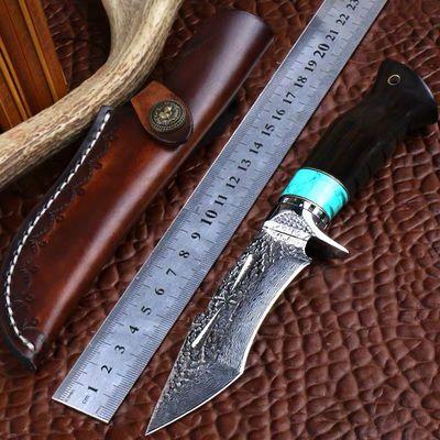 户外刀具大马士革钢刀高硬度直刀军刀野外求生刀随身防身刀收藏刀