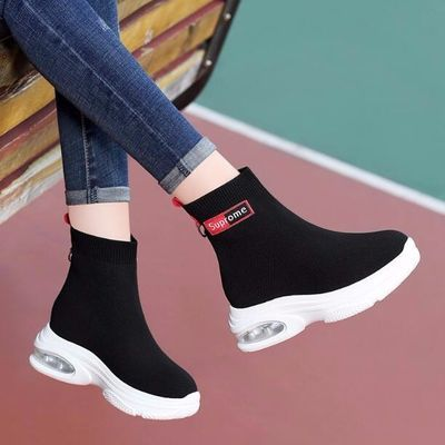 弹力袜子鞋女圆头春夏季百搭高帮防滑运动鞋内增高休闲跑步运动鞋