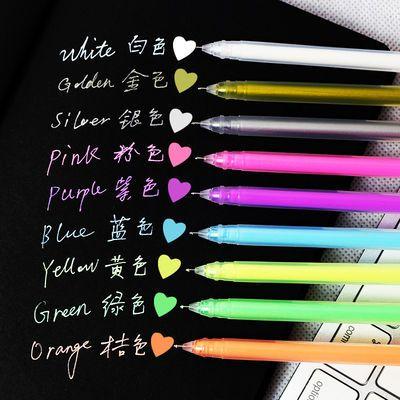 9色粉彩笔高光粉彩中性笔耐水0.6糖果色手账笔学生用标记笔水粉笔