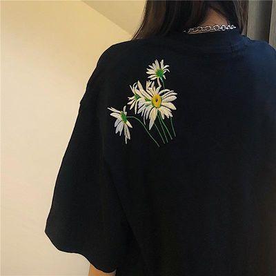 短袖女夏季新款ins字母刺绣原宿BF风学生韩版宽松白色T恤打底衫潮
