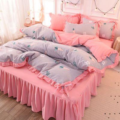 ins网红公主风床裙床罩床单加厚磨毛被套四件套少女床被罩三件套