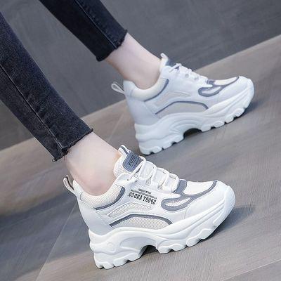 2020夏季新款内增高女鞋网面运动鞋透气小白鞋休闲厚底老爹鞋镂空