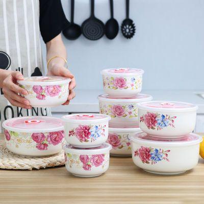 【破损包赔】陶瓷保鲜盒保鲜碗密封储物碗带盖饭盒便当三件套