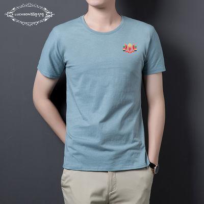 商务休闲短袖圆领纯棉T恤简约经典夏款干练型男直筒版型蓝灰透气