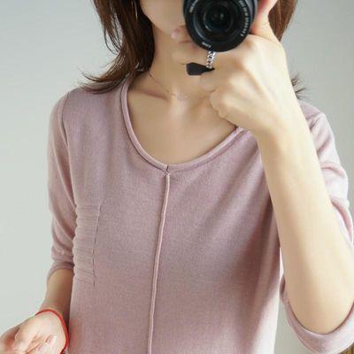 V领纯棉针织衫纯色长袖女2020春季新款宽松套头薄打底衫T上衣毛衣
