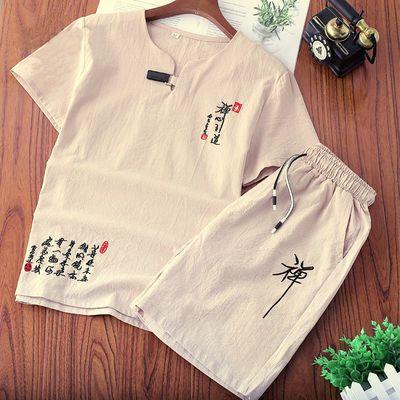夏季棉麻套装男大码短袖t恤两件套休闲中国风唐装刺绣上衣短裤