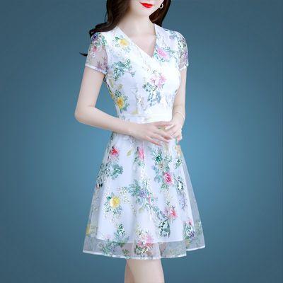 气质有女人味夏装裙子2020新款流行女装夏季碎花连衣裙白色短裙女