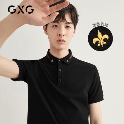 GXG男装2020年夏季新品黑色POLO衫男领口撞色精细刺绣短袖上衣潮