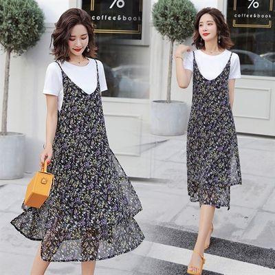 2020夏季流行花色时尚潮流吊带连衣裙÷棉T两件套装9911#自产自销
