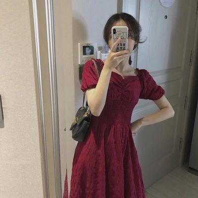 夏季法式连衣裙女方领中长款复古裙新款灯笼短袖弹力腰显瘦公主裙
