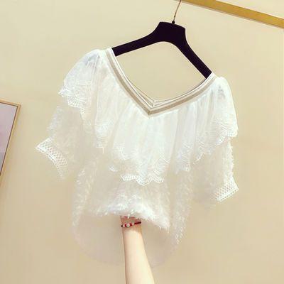 29028/2021夏季新款荷叶边拼接V领薄款雪纺衫女设计感洋气甜美显瘦上衣
